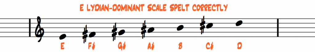 E-lydian-dominant-scale-spelt-correctly